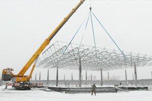 Монтаж большепролетных металлоконструкций